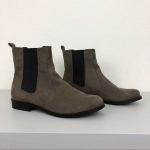 H&M Taupe Grey Faux Suede Low Chelsea Ankle Boots